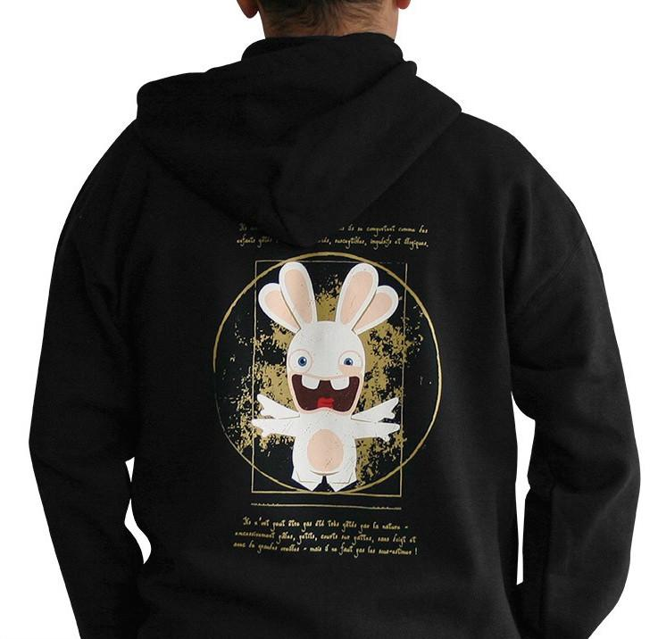 LAPINS CRETINS - Sweat Raving Rabbit Da Vinci Noir (L)