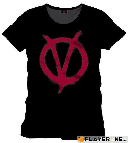 VENDETTA - T-Shirt Red Symbol - Black (S)