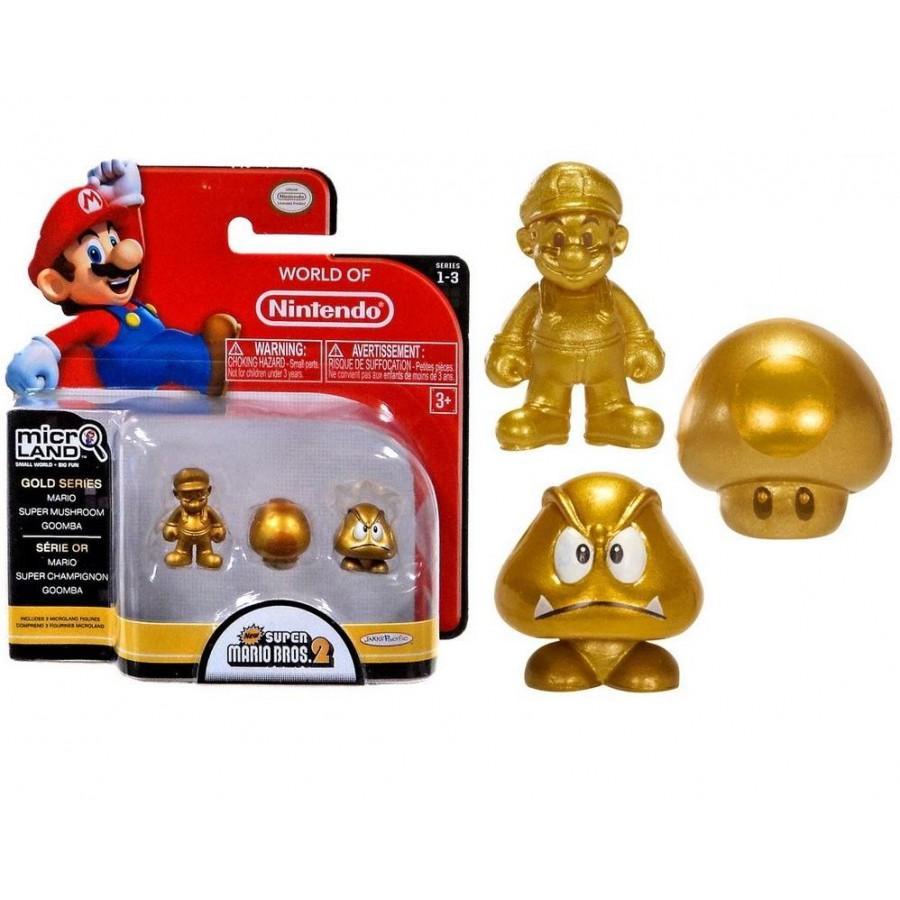 NINTENDO - Micro Figurines GOLD Series - Mario / Mushroom / Goomba