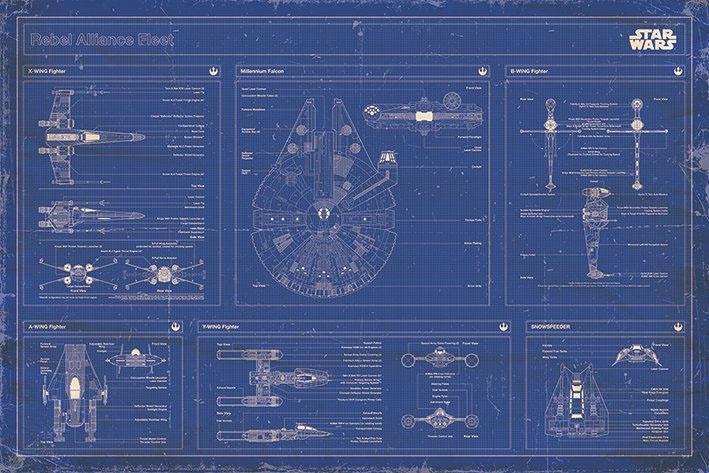 STAR WARS - Poster 61X91 - Blueprint Rebel Alliance Fleet
