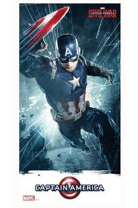 MARVEL CIVIL WAR - Poster en Verre - Captain America - 30X60 cm