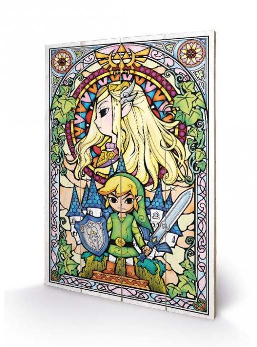 NINTENDO - Impression sur Bois 40X59 - Zelda Stained Glass