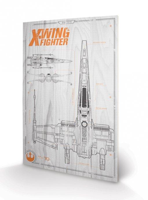 STAR WARS - Impression sur Bois 40X59 - X-Wing Plans