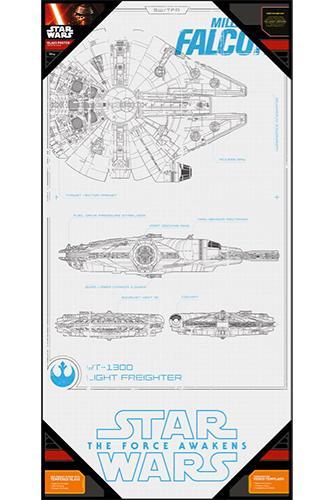 STAR WARS 7 - Poster en Verre - Millenium Falcon Blue Print - 60x30 cm