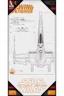 STAR WARS 7 - Poster en Verre - X-Wing Blue Print - 60X30 cm
