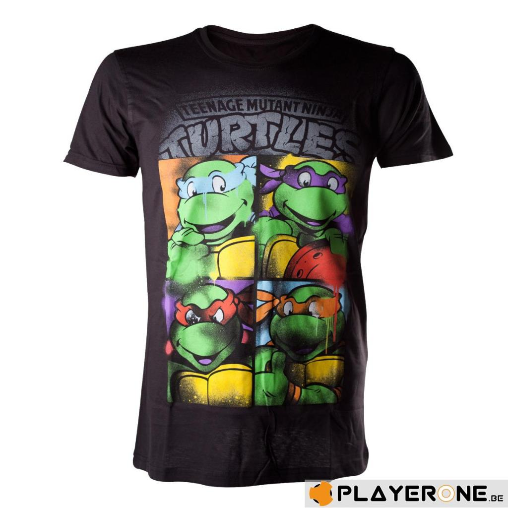 TMNT - T-Shirt Black Bright Graffiti (L)