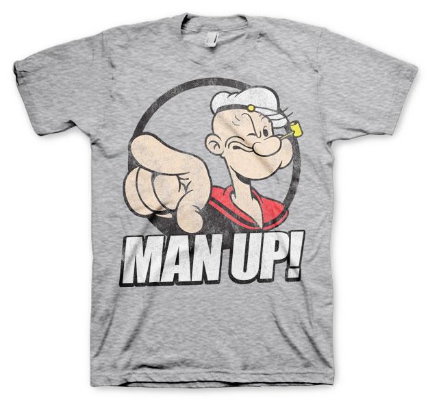 POPEYE - T-Shirt MAN UP ! - H.Grey (L)