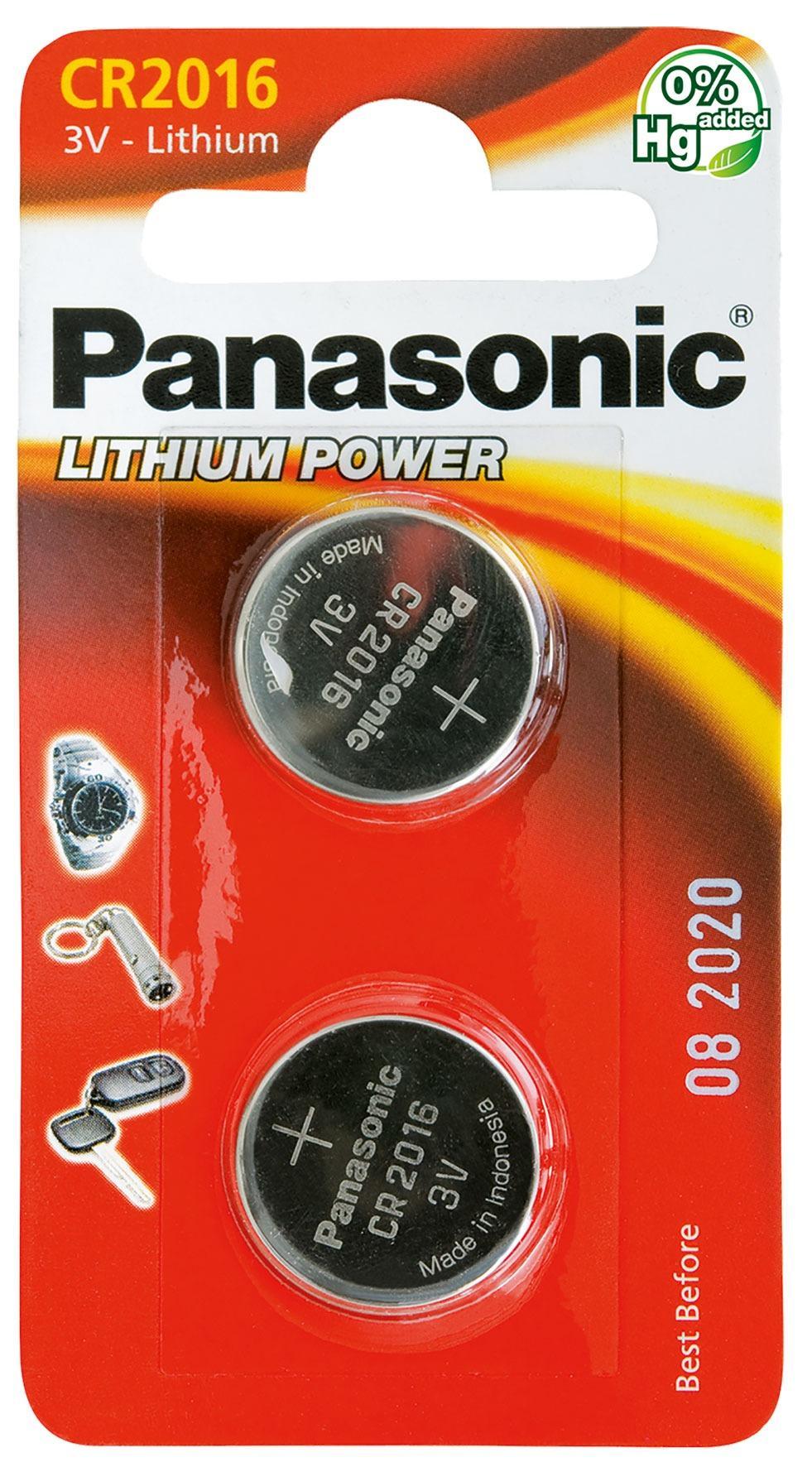 PANASONIC - Piles Lithium Coin - CR2016 X 2