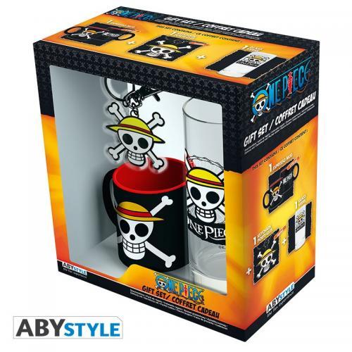 ONE PIECE - Coffret (Verre + Porte Cles + Mini Mug) - Skull Luffy