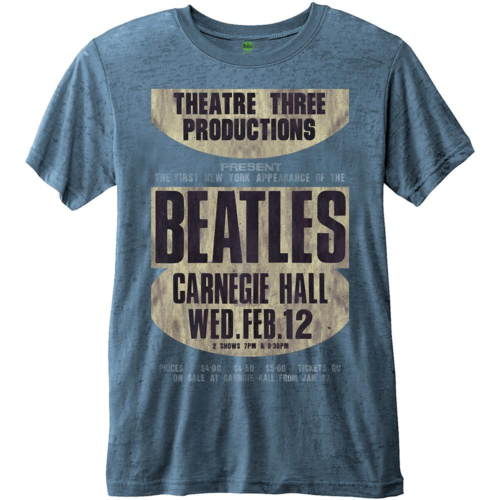 THE BEATLES - T-Shirt BurnOut Col - Carnegie Hall - Blue - Men (L)
