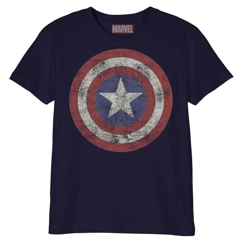 MARVEL - T-Shirt Enfant - Captain America Logo Grunge (10 ans)