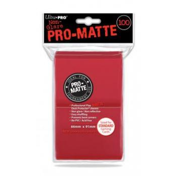 ULTRA PRO - Standard Deck Protector PRO-Matte Red '100 Sleeves'