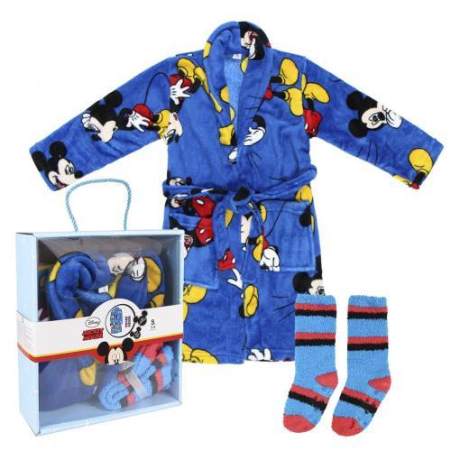 DISNEY - Mickey - Set Cadeau - Peignoir & Chaussettes - 3/4 ans