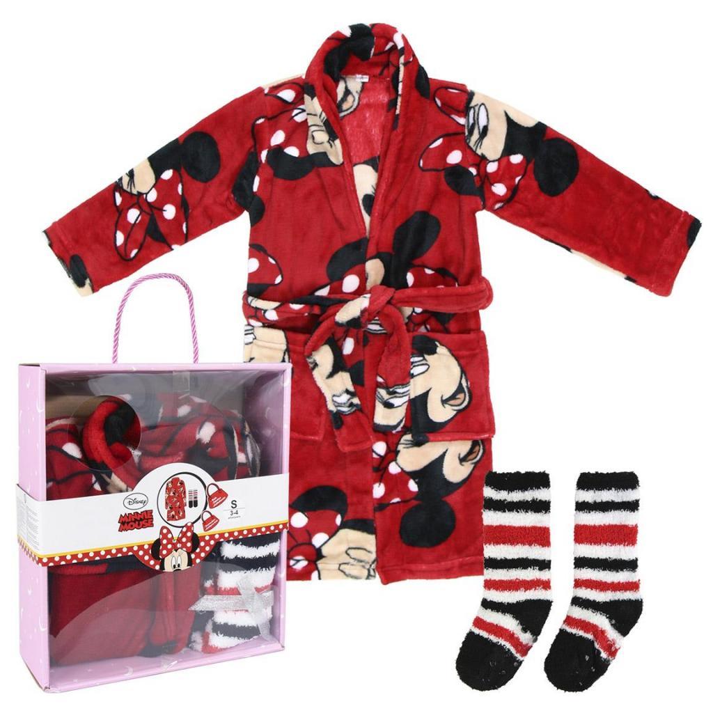 DISNEY - Minnie - Set Cadeau - Peignoir & Chaussettes - 3/4 ans