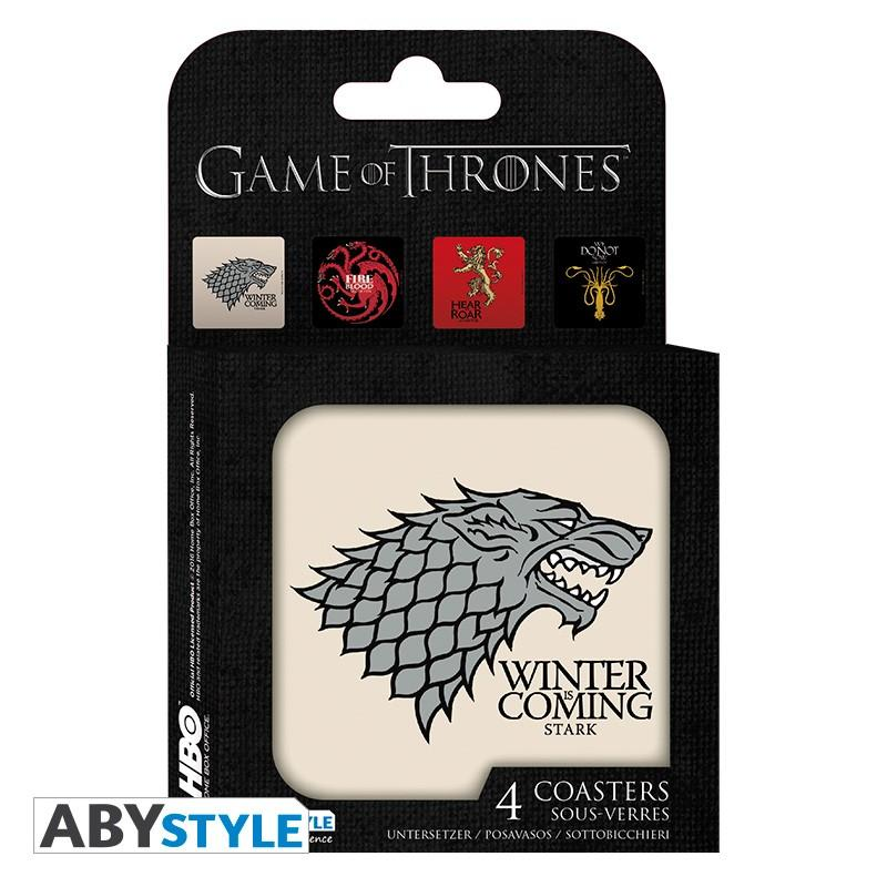 GAME OF THRONES - Pack de 4 Dessous de Verre - Maisons