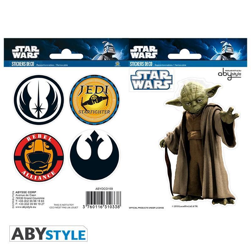 STAR WARS - Stickers - 16x11cm / 2 planches - Yoda/Symboles