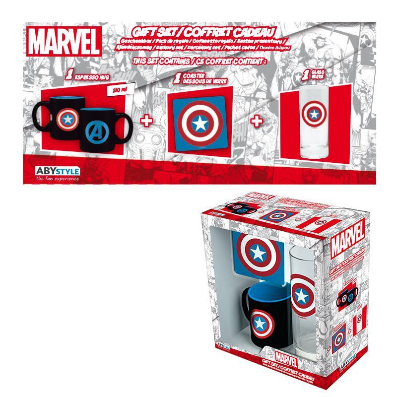 MARVEL - Coffret Cadeau Capt. America (Glass+ Coaster+ Mini-Mug)