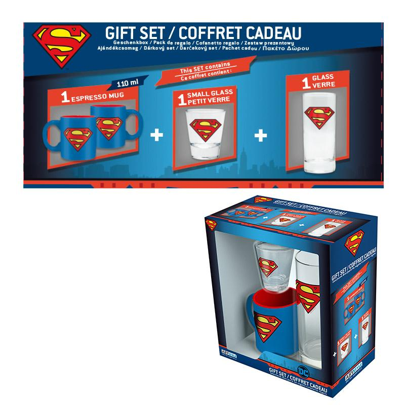 SUPERMAN - Coffret Cadeau (Verre + Shooter + Mini-Mug)