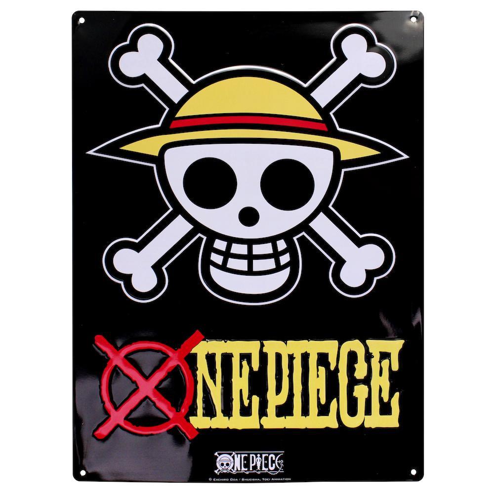 ONE PIECE - Plaque Metal 28 X 38 - Skull Luffy