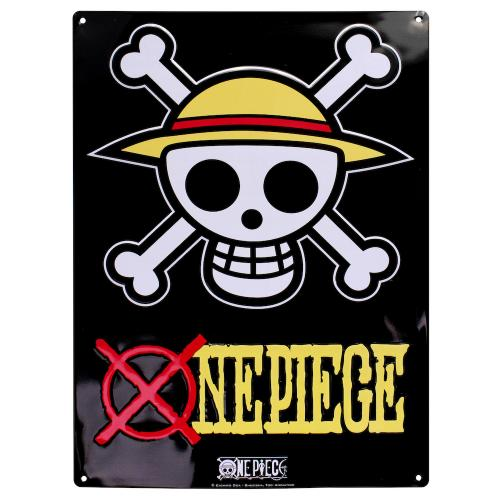 ONE PIECE - Plaque Metal 28 X 38 - Skull Luffy