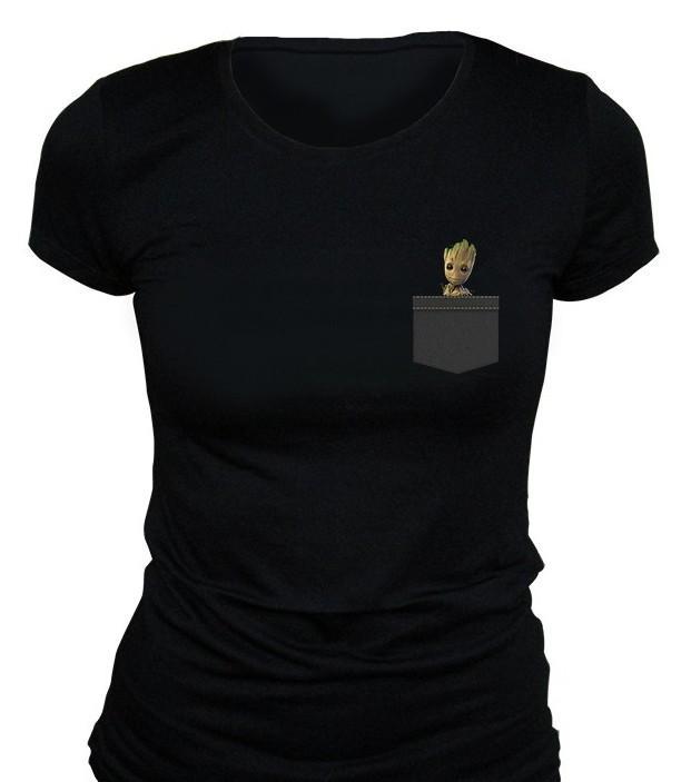 MARVEL - T-Shirt Pocket Groot GIRL - Black (S)