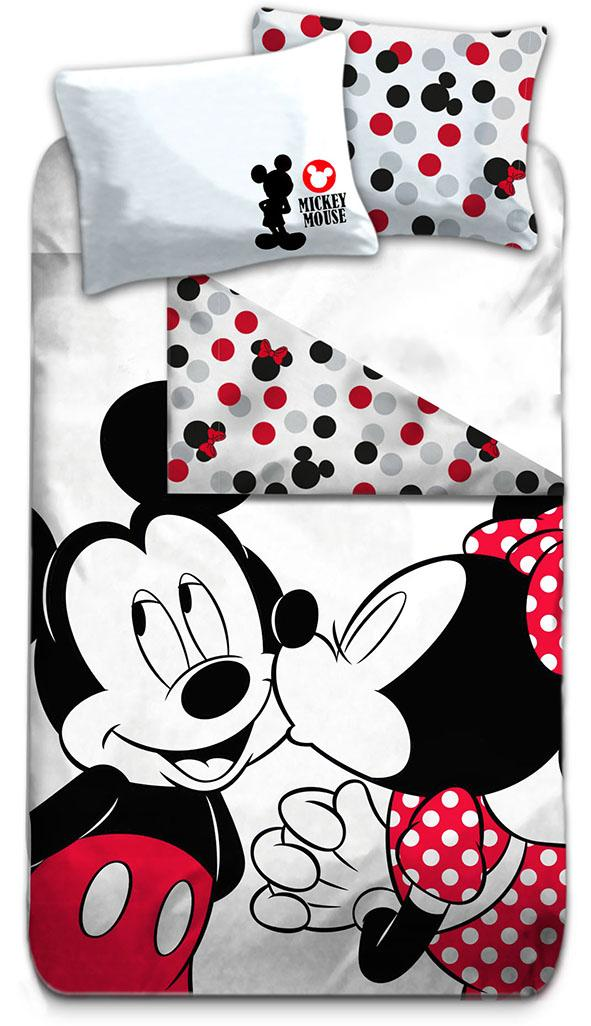 DISNEY - Parure de lit 140X200 - Mickey & Minnie '100% Cotton'