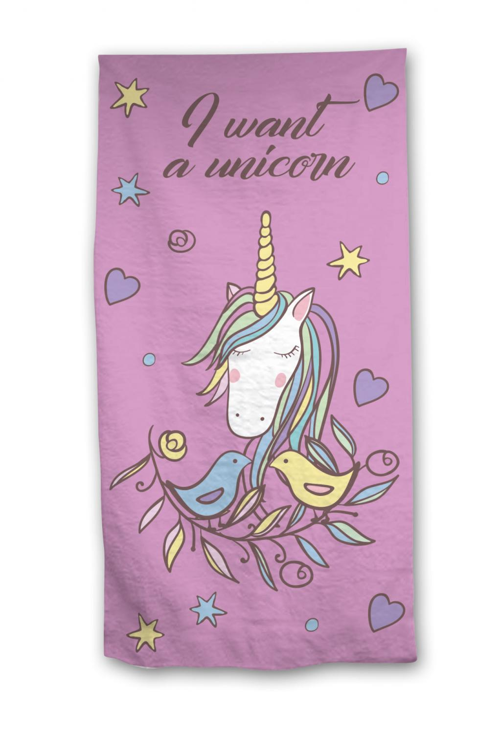 UNICORN - Serviette de Plage 100% Cotton - 70 x 140 - I Want a Unicorn