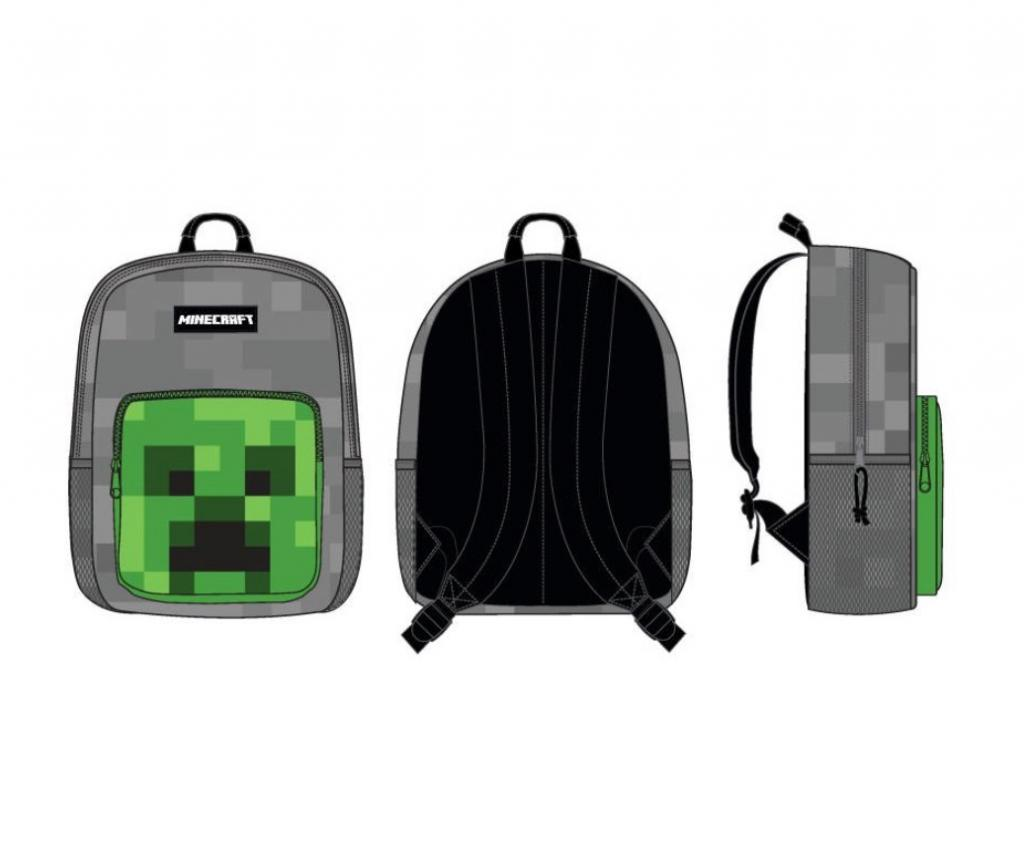 MINECRAFT - Creeper Front Pocket Grey Backpack