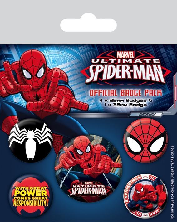 SPIDERMAN - Pack 5 Badges - Ultimate Spider-Man