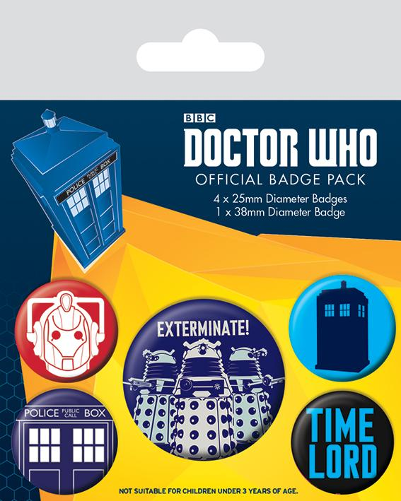 DOCTOR WHO - Pack 5 Badges - Exterminate