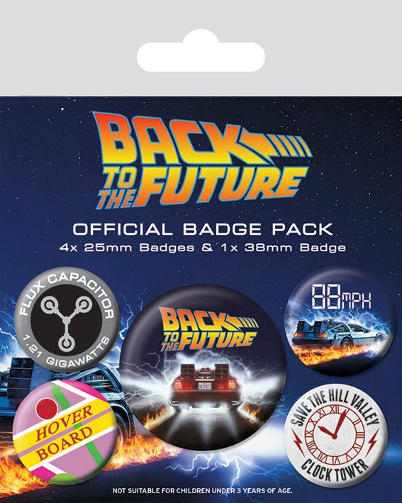 BACK TO THE FUTURE - Pack 5 Badges - Delorean