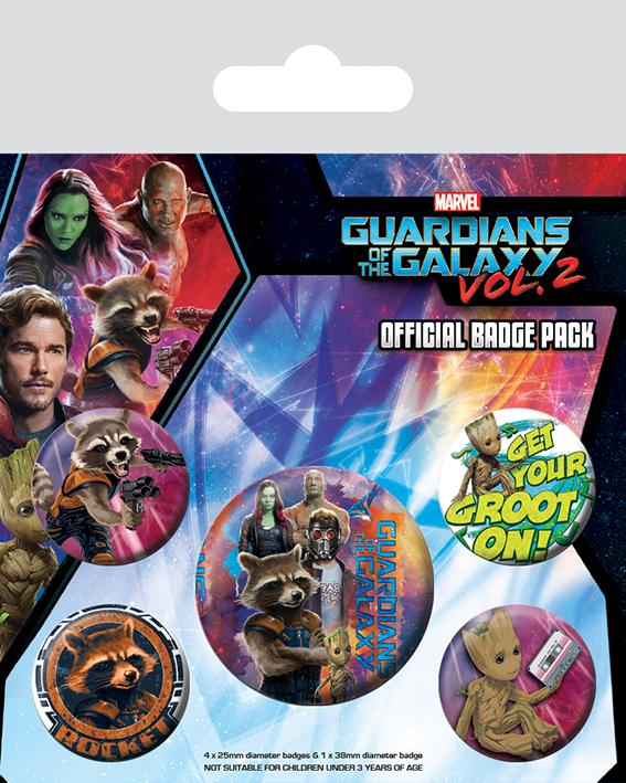GUARDIANS OF THE GALAXY 2 - Pack 5 Badges - Rocket & Groot