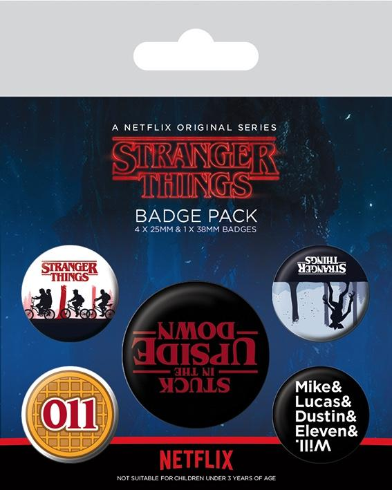 STRANGER THINGS - Pack 5 Badges - Upside Down