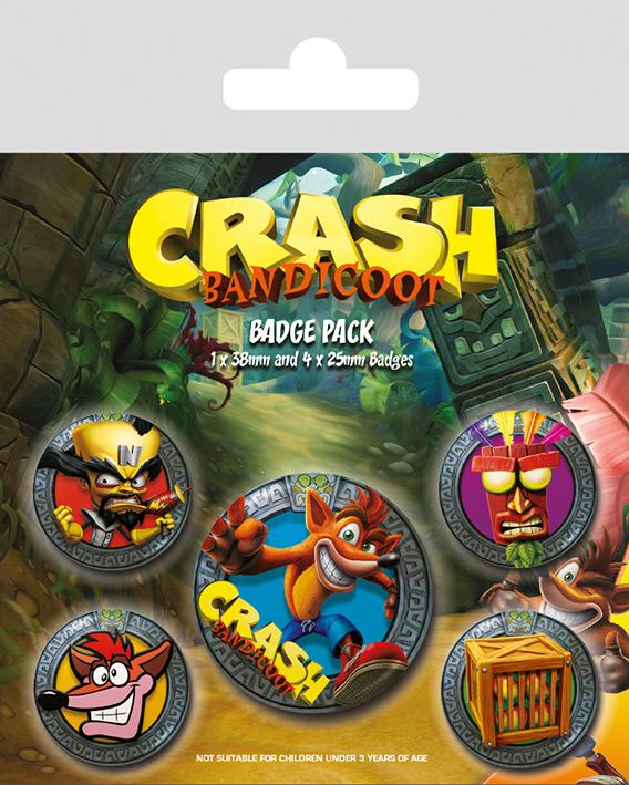 CRASH BANDICOOT - Pack 5 Badges - Pop Out