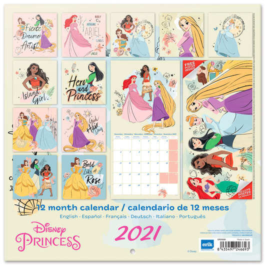 Calendrier 2021 Disney ShopForGeek | DISNEY   Princess   Calendrier 2021 '30x30cm