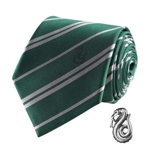 HARRY POTTER - Cravate Deluxe - Serpentard avec Pin's