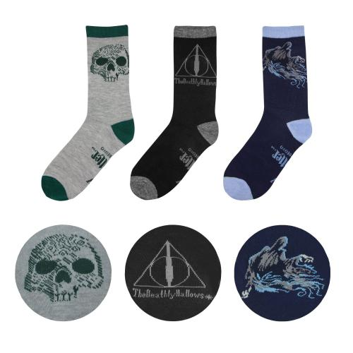 HARRY POTTER - Lot de 3 paires de Chaussettes DEATHLY - Taille 37-46