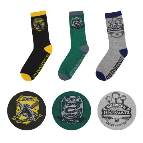 HARRY POTTER - Lot de 3 paires de Chaussettes QUIDDITCH - Taille 37-46