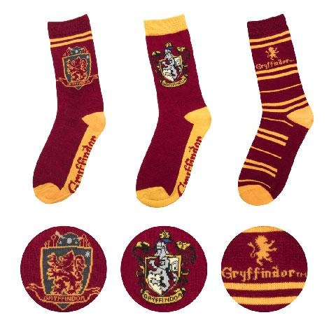 HARRY POTTER - Lot 3 paires - Chaussettes - Gryffondor - Taille 37-46