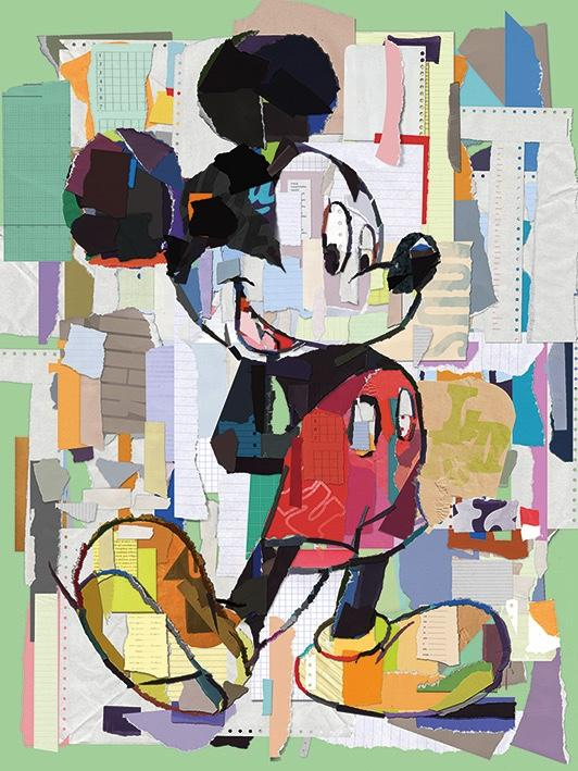 DISNEY - Canvas 60X80 '18mm' - Mickey Mouse Office Decoupage