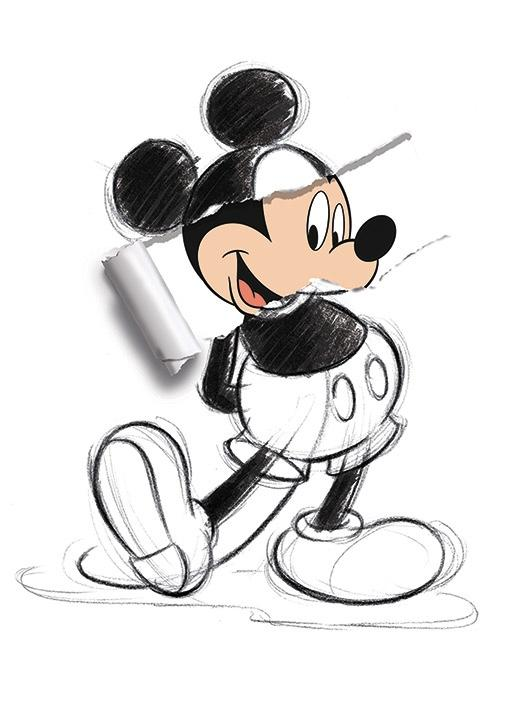 DISNEY - Canvas 60X80 '18mm' - Mickey Mouse Torn Sketch