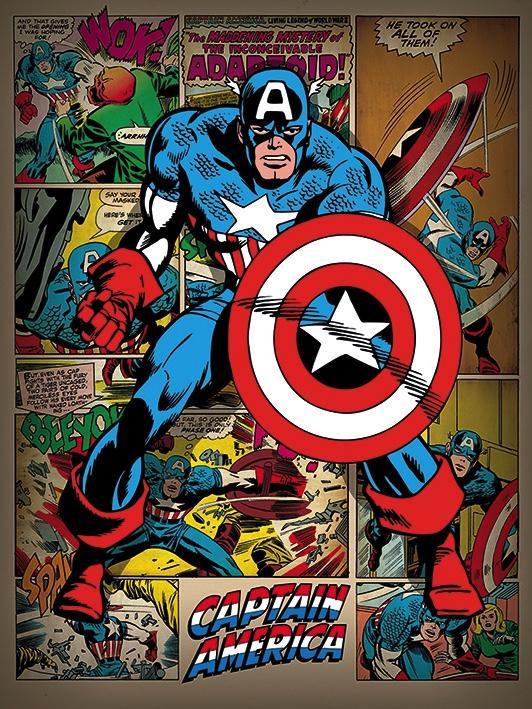 MARVEL COMICS - Canvas 60X80 '18mm' - Captain America Retro