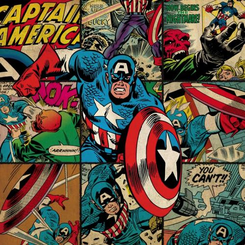MARVEL COMICS - Canvas 40X40 '18mm' - Captain America Squares