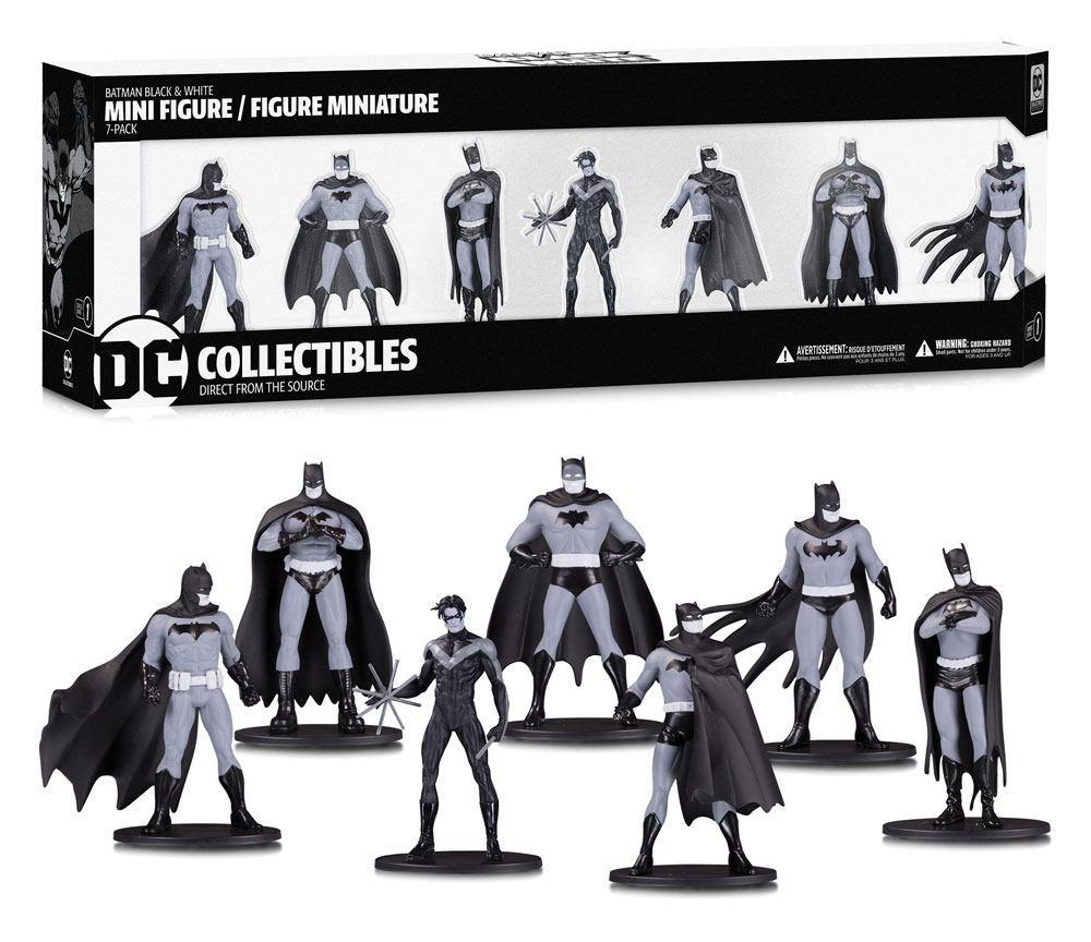 BATMAN - Black & White Pack 7 Figurines PVC Box Set 1 - 10cm