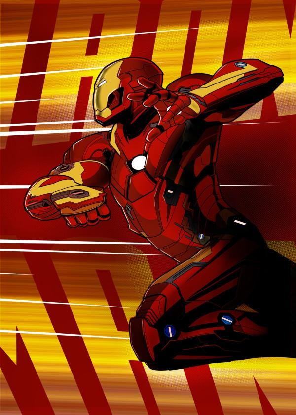 CIVIL WAR SHOWDOWN - Magnetic Metal Poster 45x32 - Iron Man