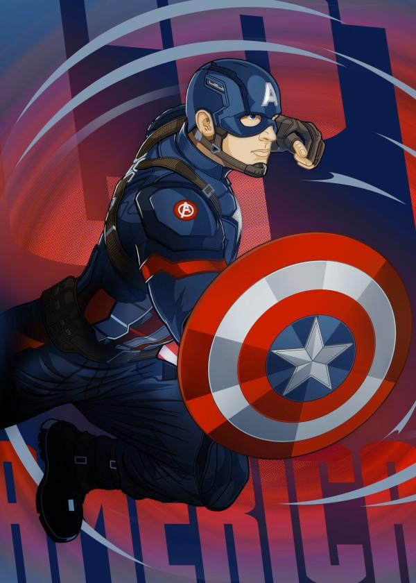 CIVIL WAR SHOWDOWN - Magnetic Metal Poster 45x32 - Captain America