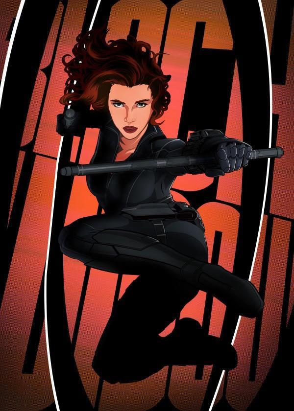 CIVIL WAR SHOWDOWN - Magnetic Metal Poster 45x32 - Black Widow