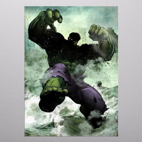 MARVEL - Dark Edition - Magnetic Metal Poster 31x21 - Hulk