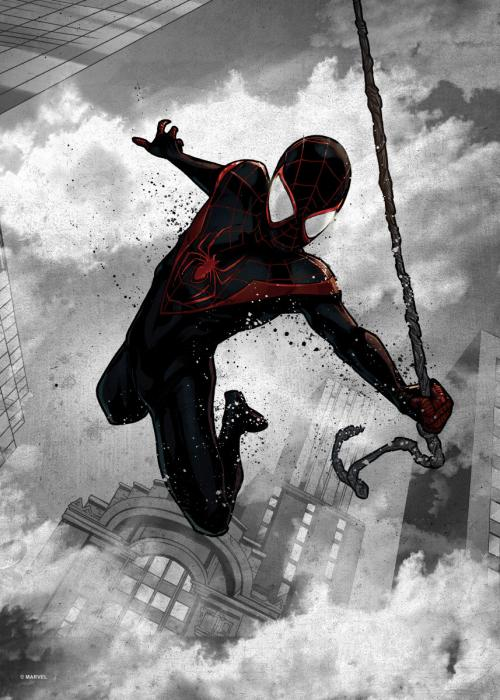 MARVEL - Dark Edition - Magnetic Metal Poster 45x32 - Miles Morales