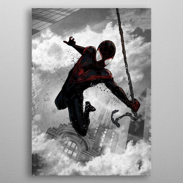 MARVEL - Dark Edition - Magnetic Metal Poster 31x21 - Miles Morales